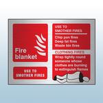 Prestige Landscape Fire Blanket Sign (Stainless Look)