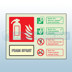 Landscape Photoluminescent AFFF Foam Fire Extinguisher Sign