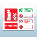 Landscape Rigid plastic Hydrospray Fire Extinguisher Sign