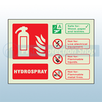 Landscape Photoluminescent Hydrospray Fire Extinguisher Sign