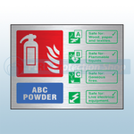 Prestige Landscape ABC Dry Powder Fire Extinguisher Sign (Stainless Look)