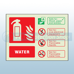 Landscape Photoluminescent Water Fire Extinguisher Sign