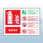 Landscape Rigid Plastic Water Fire Extinguisher Sign