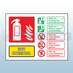 Landscape Rigid Plastic Wet Chemical Fire Extinguisher Sign