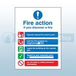 300mm X 250mm Rigid Plastic Public Fire Action Sign 1