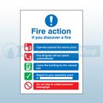 300mm X 250mm Rigid Plastic Public Fire Action Sign 3