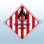 Self Adhesive 100mm X 100mm Flammable Solid 4 Sign