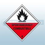 Self Adhesive 100mm X 100mm Spontaneously Combustible 4 Sign