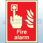 200mm X 150mm Photoluminescent Fire Alarm Sign