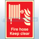 200mm X 150mm Photoluminescent Fire Hose Reel Keep Clear Sign
