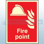 200mm X 150mm Photoluminescent Fire Point Sign