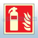 100mm X 100mm Photoluminescent Fire Extinguisher Sign
