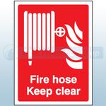 200mm X 150mm Rigid Plastic Fire Hose Reel Keep Clear Sign