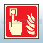100mm X 100mm Photoluminescent Fire Alarm Sign