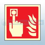 150mm X 150mm Photoluminescent Fire Alarm Sign