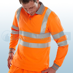 Railspec Orange Hi-Visibility Long Sleeve Polo Shirt