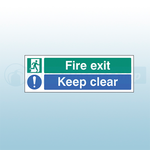 450mm X 150mm Self Adhesive Fire Exit Keep Clear Sign