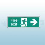 450mm X 150mm Rigid Fire Exit Right Sign
