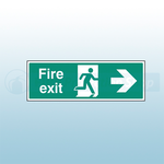 450mm X 150mm Self Adhesive Fire Exit Right Sign