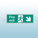 300mm X 100mm Self Adhesive Fire Exit Down Right Sign