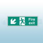 600mm X 200mm Rigid Fire Exit Down Left Sign