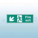 450mm X 150mm Self Adhesive Fire Exit Down Left Sign