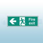 300mm X 100mm Rigid Fire Exit Left Sign