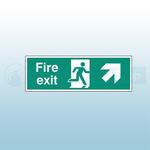 300mm X 100mm Rigid Fire Exit Ahead Right Sign