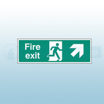 450mm X 150mm Self Adhesive Fire Exit Ahead Right Sign