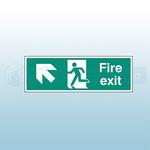 300mm X 100mm Rigid Fire Exit Ahead Left Sign