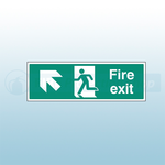 300mm X 100mm Self Adhesive Fire Exit Ahead Left Sign