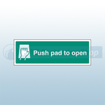 450mm X 150mm Self Adhesive Push Pad To Open Sign