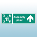 450mm X 150mm Rigid Plastic Assembly Point Ahead Sign