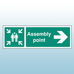 450mm X 150mm Rigid Plastic Assembly Point Right Sign