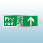 300mm X 100mm Prestige Fire Exit Ahead Sign (Stainless Look)