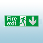 300mm X 100mm Prestige Fire Exit Down Sign (Stainless Look)