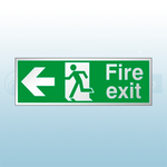 300mm X 100mm Prestige Fire Exit Left Sign (Stainless Look)