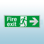 300mm X 100mm Prestige Fire Exit Right Sign (Stainless Look)